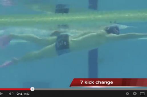 クロールの手と脚のタイミングを合わすドリル練習 サイドキック(水中映像)